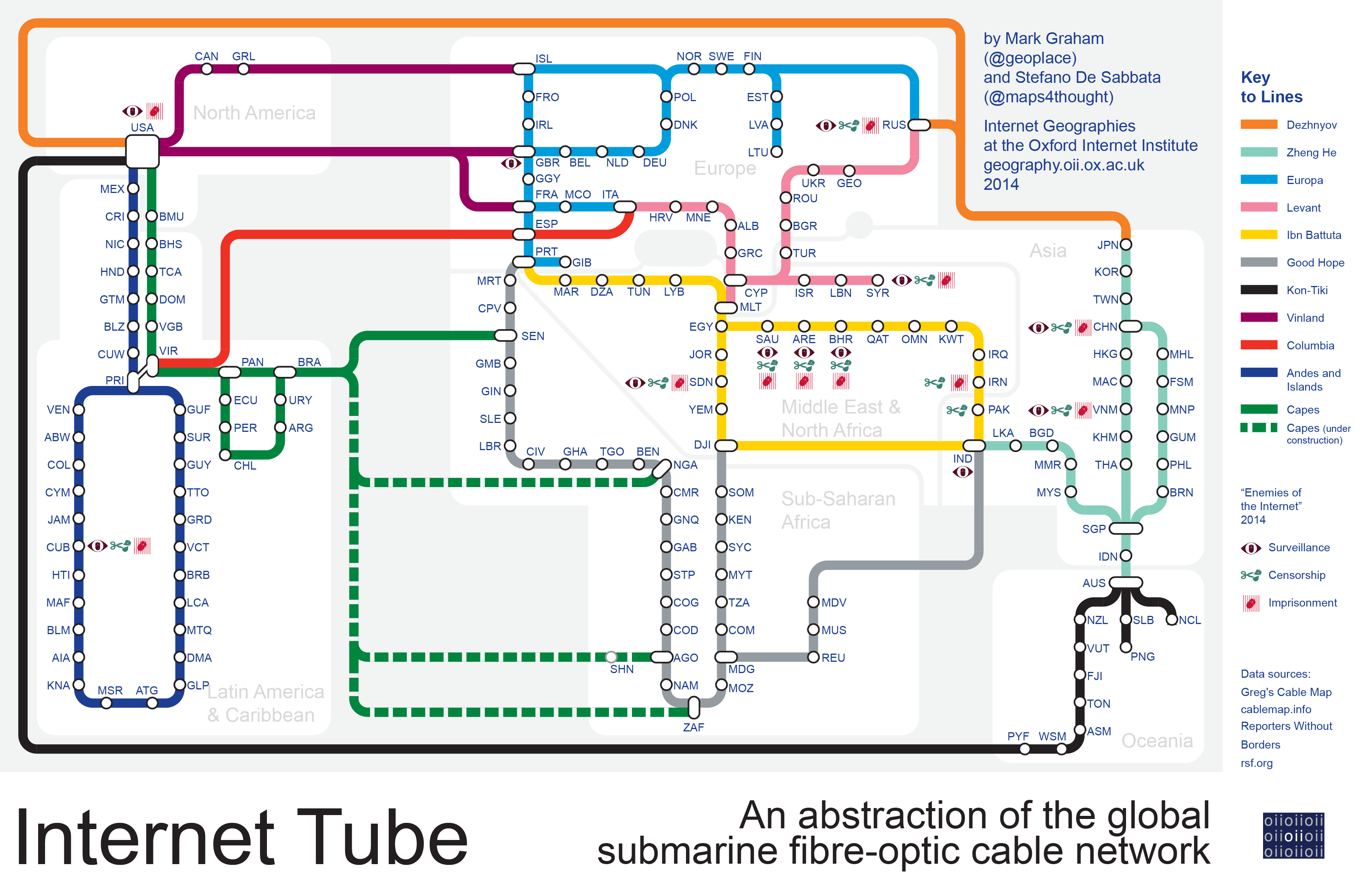 Mapping the global submarine fibre-optic cable network |